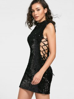 Sequined Lace-up Prom Dress - Black 2xl