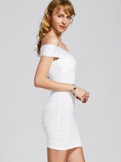 Knitted Off Shoulder Bandage Dress - White