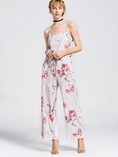 Drawstring Pockets Floral Cami Jumpsuit - Light Khaki S