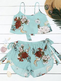 Bowknot Floral Top And High Waisted Shorts - Light Blue S