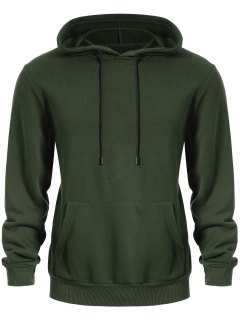 Pullover Kangaroo Pocket Hoodie - Army Green Xl