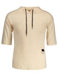 Drawstring Hooded T-shirt - Khaki M