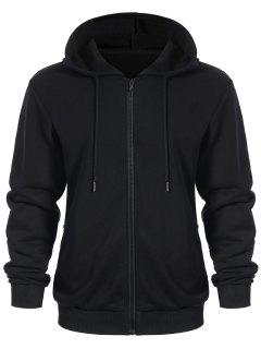Pockets Zip Up Hoodie - Black Xl