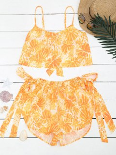 Bowknot Palm Tree Top And High Waisted Shorts - Yellow S