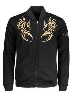 Zippered Embroidered Bomber Jacket - Black M