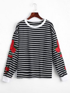 Floral Patched Striped Sweatshirt - Black