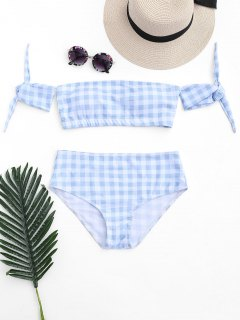 Off Shoulder Checked High Waisted Bikini - Blue And White M