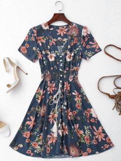 Smocked Floral Button Up A Line Dress - Purplish Blue M