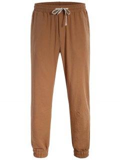 Men Drawstring Jogger Pants - Light Brown L
