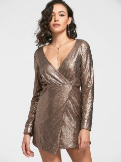 Sequined Prom Dress - Golden 2xl