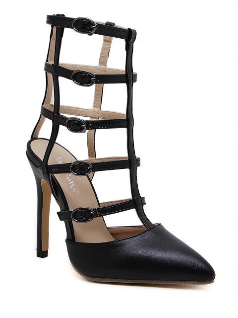 chic Pointed Toe Faux Leather Buckle Straps Pumps - BLACK 40 Mobile