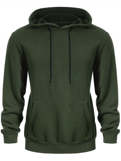 affordable Pullover Kangaroo Pocket Hoodie - ARMY GREEN 3XL Mobile