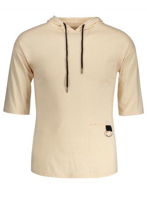 online Drawstring Hooded T-shirt - KHAKI XL Mobile