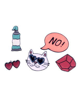 Funny Cat Heart No Brooch Set