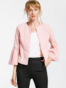 Flare Sleeve Open Front Jacket - Pink S