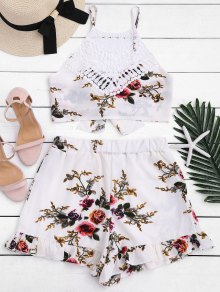 Lace Panel Floral Top And Shorts Set - Floral Xl