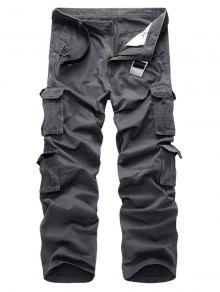 جيوب رفرف السراويل الساق مستقيم - رمادي 32