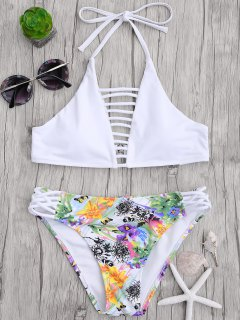 Cut Out Strappy Top With Floral Bikini Bottoms - White S