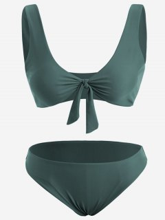 Front Knot Plus Size Bikini Set - Blackish Green Xl