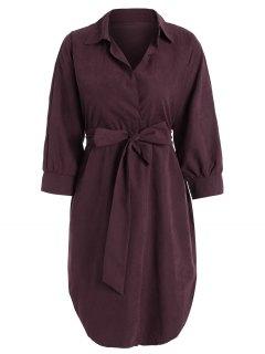 Robe Haute-Basse Sobre Avec Ceinture - Rouge Vineux  M