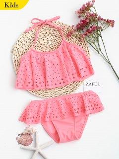 Overlay Laser Cut Ruffles Kid Bikini - Shallow Pink 5t