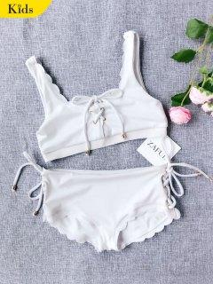 Scalloped Lace Up Bikini - White 4t