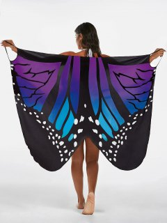 Butterfly Print Beach Wrap Cover Up Dress - Blue + Purple 2xl