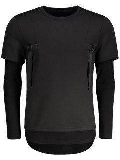 Double-sleeve Low High Hem Sweatshirt - Black 2xl