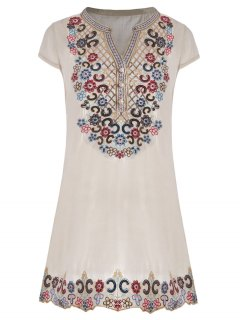 Sequin Embroidered Plus Size Tunic Top - Beige 2xl