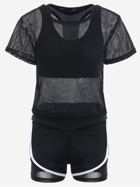 new Mesh Three-piece Sports Suit - BLACK M Mobile