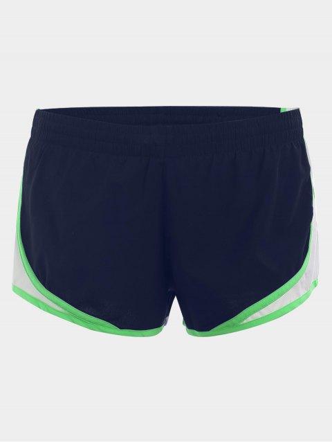 Contraste Trim Drawstring Sports Shorts - Bleu Foncé M Mobile