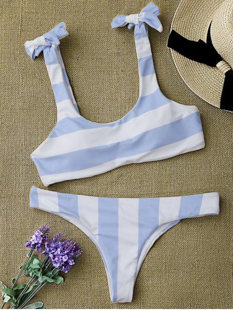 best Striped Tie Shoulder Scoop Bikini Set - BLUE AND WHITE M Mobile