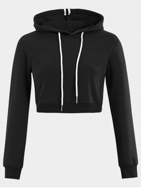outfits Cropped Drawstring Sports Hoodie - BLACK M Mobile