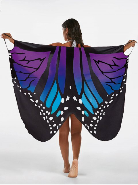 women Butterfly Print Beach Wrap Cover Up Dress - BLUE + PURPLE 2XL Mobile