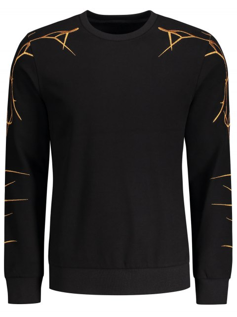 outfit Pullover Casual Embroidery Sweatshirt - BLACK XL Mobile