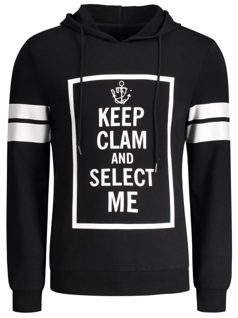 shop Stripe Trim Pullover Graphic Hoodie - BLACK XL Mobile