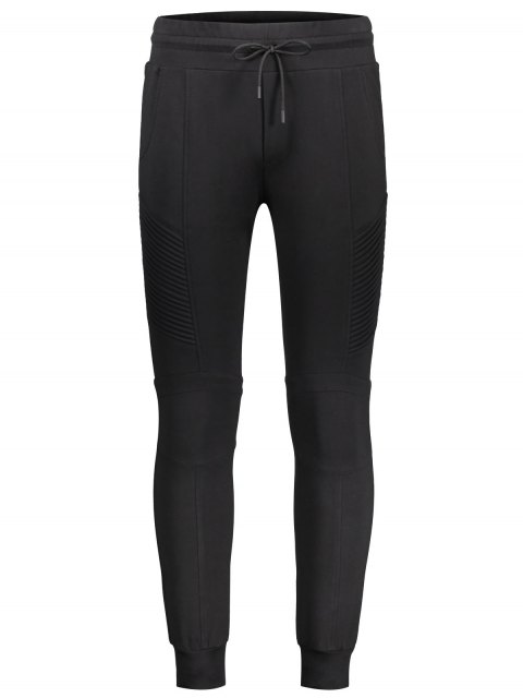 chic Ribbed Side Casual Jogger Pants - BLACK XL Mobile