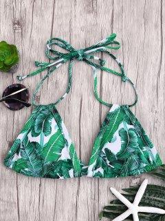 Padded Palm Print Bikini Top - Green S