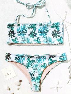 Palm Leaf Tropical Bandeau Bikini Set - White And Green S