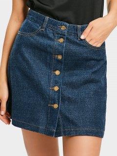Mini Button Up Denim Skirt - Denim Blue M