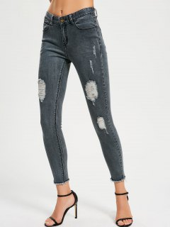 Skinny Destroyed Pencil Jeans - Blue Gray 28