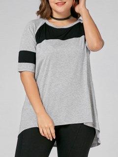 Color Block Plus Size High Low Long T-shirt - Gray 5xl