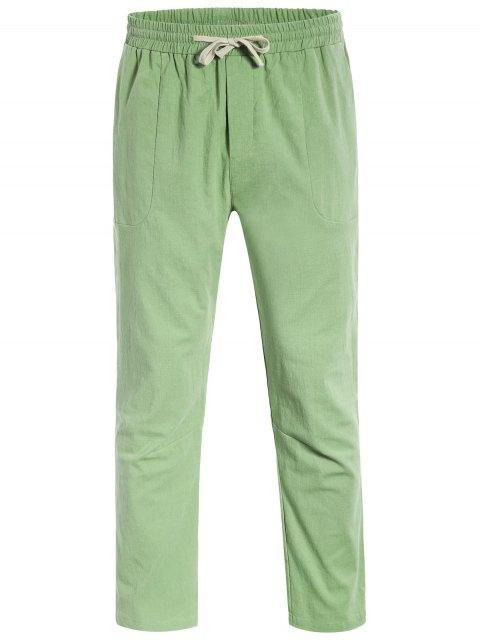 Casual Pockets Drawstring Pants - Vert clair L Mobile