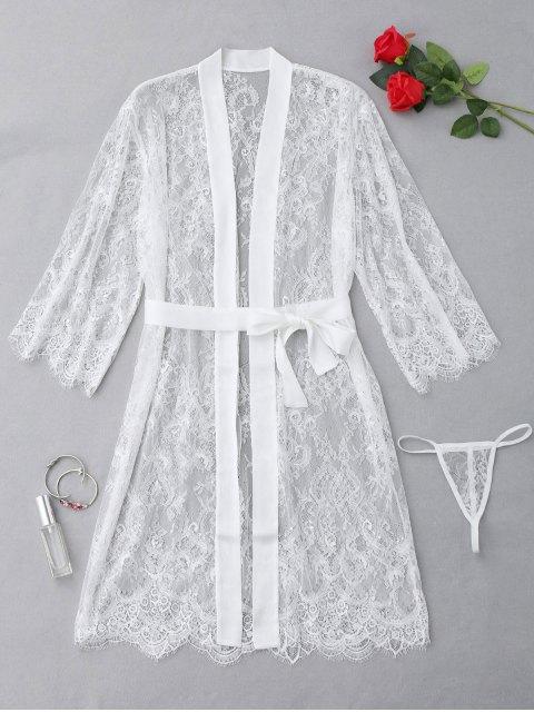 Ensemble de lingerie en dentelle festonnée - Blanc TAILLE MOYENNE Mobile