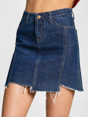 Asymmetrical Denim Cutoffs Skirt - Denim Blue - Denim Blue L