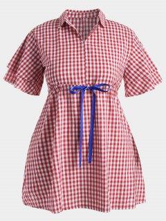 Plus Size Drawstring Checked Dress - Red 4xl