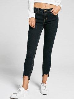 Skinny High Low Hem Pencil Jeans - Black 30