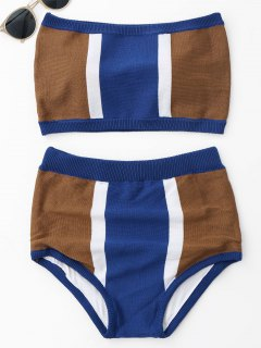 Strapless Color Block Knit Bikini Set - Blue