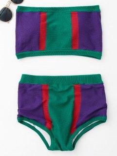 Strapless Color Block Knit Bikini Set - Green