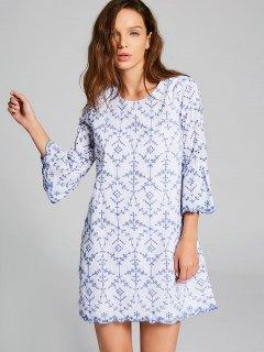 Robe à Manches Courtes à Manches Courtes - Bleu Et Blanc S